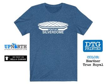 Pontiac Silverdome (White Print) - Detroit Football Stadium - DTG Printed Soft Jersey T-Shirt