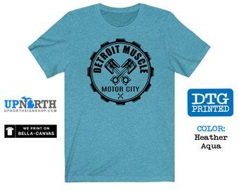 Motor City Muscle Gear - Detroit Michigan - DTG Printed Soft Jersey T-Shirt
