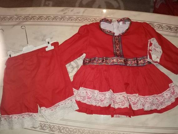 Red girls Spanish dress and shorts set