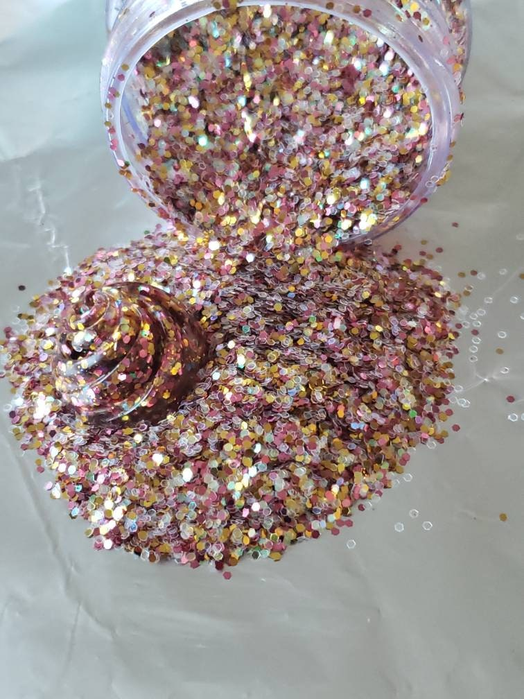 Rose Gold Holographic Chunky Glitter