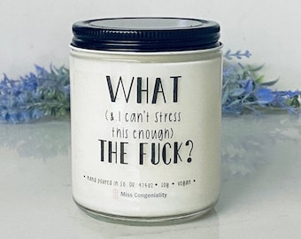What (And I Can't Stress This Enough) The F*ck Candle, Funny Gift, Soy Candle
