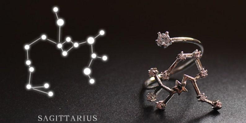 One Size Adjustable 12 Horoscopes zodiac Constellation Rings  Sagittarius Aquarius Leo,Capricorn Gemini