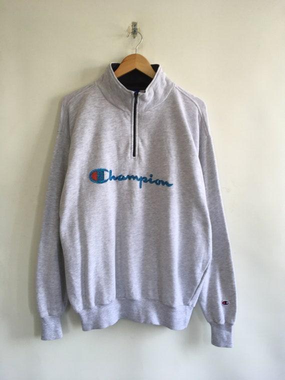CHAMPION Half Zipper Sweater Xlarge Vintage 90's C