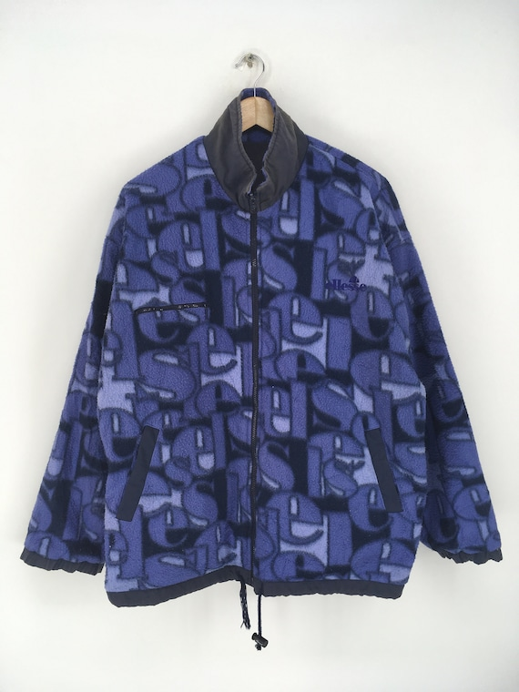 Vintage ELLESSE Fleece Jacket Xlarge 1990's Elles… - image 1