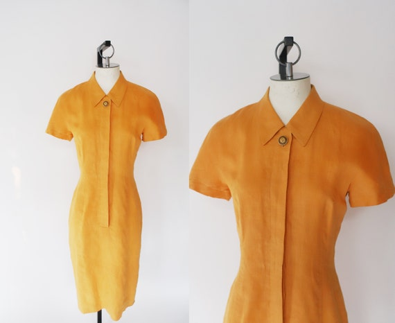 Vintage 1990s Gillian small orange linen button up