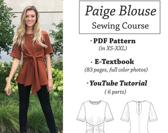 Paige Blouse Sizes Large, X-Large, XX-Large  PDF home printing sewing pattern