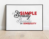 Simple is Beauty, Art Download, Printable Art, Living Room Wall Decor, Office Wall Decor, Cafe Wall Decor, Coffee House Wall Decor, Poster