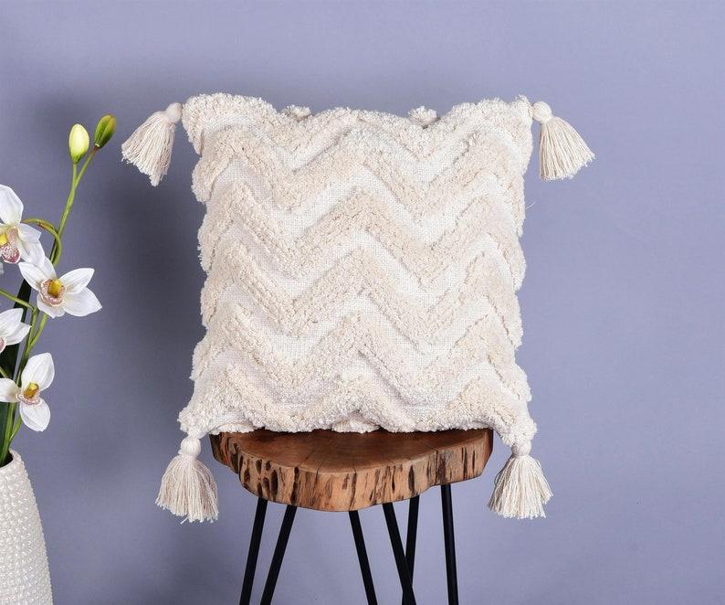 Tufted Pillow Cover Boho Throw Neutral Designer Pillow 18 x18 Inch Cushion Bohemian Living Decor Ivory Designer Throw