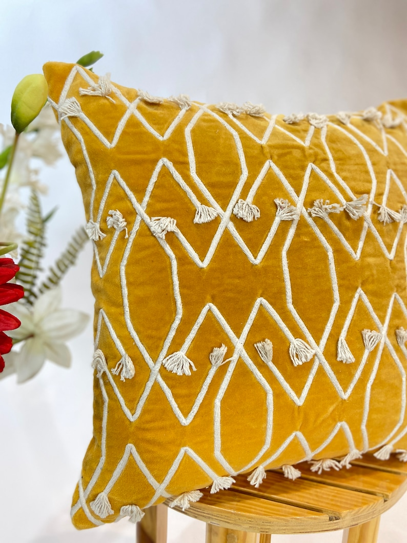 Mustard Yellow Velvet with Cotton Dori Embroidered 18x18 Decorative Pillow Cover Bohemian Home living Room Throw Sofa Pillow Case