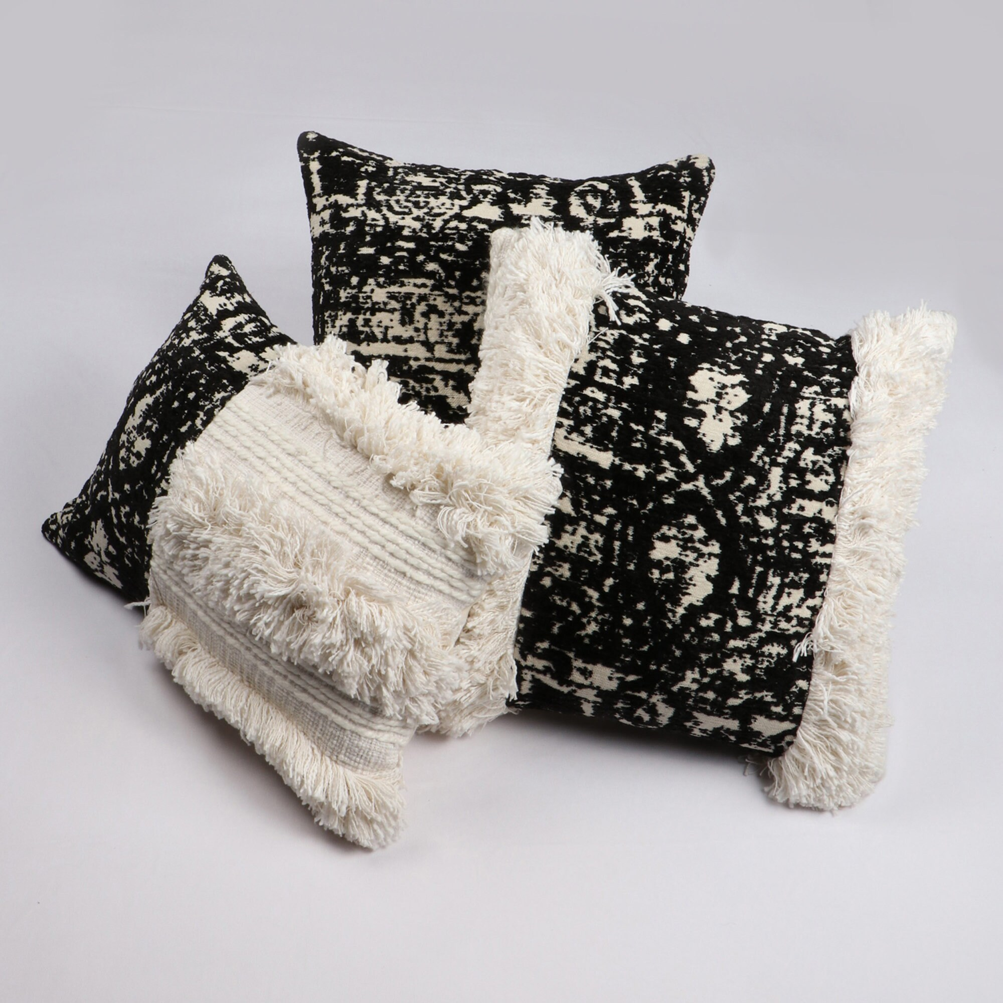 Black & Cream 100% Viscose Chenille Jacquard Abstract Pattern Reversible Cushion Cover for sale