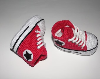 Baby shoe sneaker crochet cotton 100% raspberry color 3/6 months
