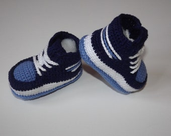 Baby shoe baby shoe basketball crochet cotton 100/% blue color 3/6 months