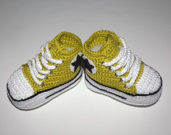 Baby shoe basket crochet cotton 100% lemon color 3/6 months