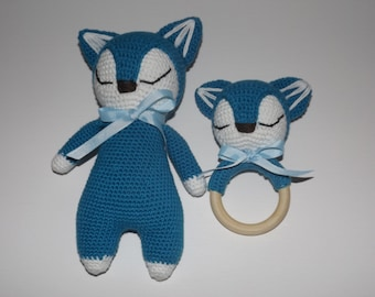 set doudou fox crochet and his rattle gift for baby color blue