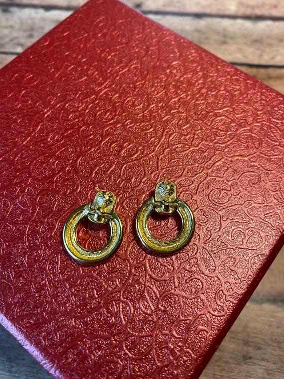 Vtg retro Monet Gold Tone Earrings, dual style ci… - image 6
