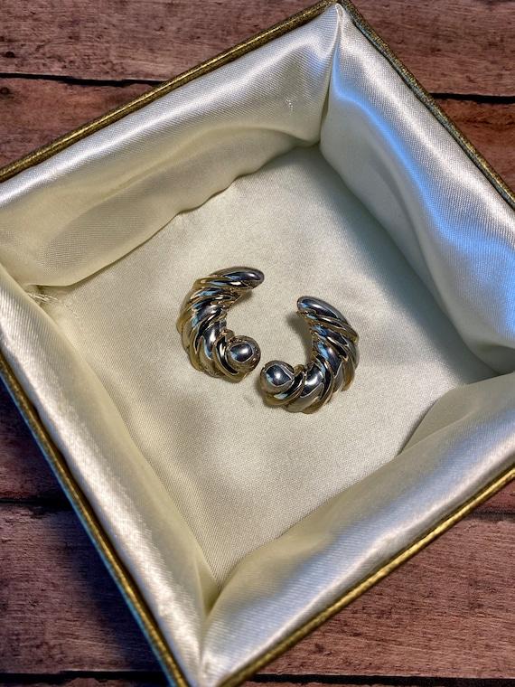 Vtg silver crescent earrings, 925 marked silver cr