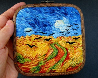 Vincent Van Gogh Hoop Art 3D Felted wool painting Wall hanging decor Wheatfield with crows Christmas art gift for friend