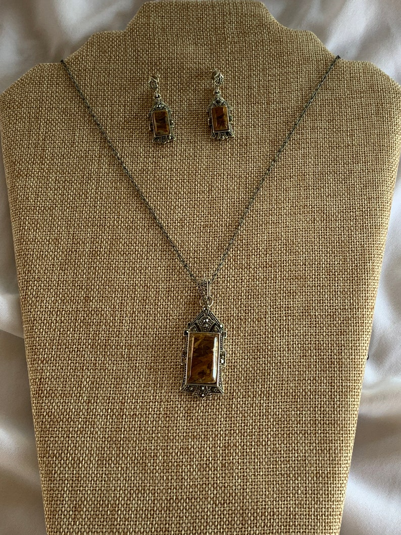 Vintage Style Brownstone necklace /& earring set
