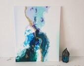 Sandtimer, Ocean Waves | Original Abstract Fluid Painting, Mixed Media, Fluid Acrylics, Alcohol ink, Gold mixative, Home decor, On canvas