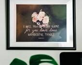 Wonderful Things | Isaiah 25:1 | Bible verse art print, Giclée art print, Fine art print, A4 print on cotton art paper