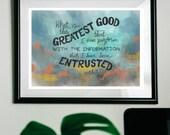 Greatest Good | Ellen White quote | Spirit of Prophecy art print, Giclée art print, Fine art print, A4 print on cotton art paper