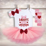 Baby Girls Valentines Tutu - Daddy's Little Valentine - Babys 1st Holiday - 1st Valentines Tutu - V Day Outfit - Toddler Valentines Outfit