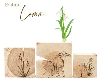 Spring decoration made of wood for home + vase, Easter lamb