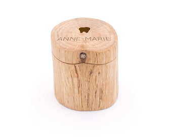 Milk tooth can with names made of wood, milk teeth PUR