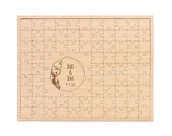 Guestbook Wood for the Wedding, Boho 83 Puzzle Pieces