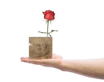 Gift for her, decoration for home wooden with vase, gift drawer
