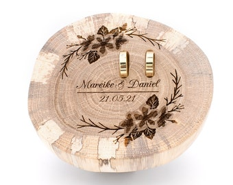 Ring pillow wood for wedding, cherry blossom