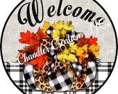 Fall Pumkpin Sign,Plaid Pumking Sign,Cheetah Print Sign,Fall Wreath Sign,Wreath Sign,Sublimation Sign,Wreath Attachment,Pumkpin Sublimation