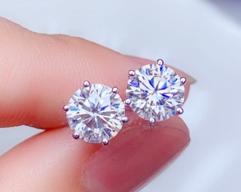 925 sterling-silver 1//2TCW Real Round Diamond Cluster Ladies Stud Earring