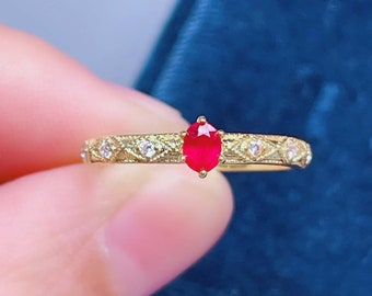 July birthstone Ethical jewellery Solid gold ring 9 carat Ruby ring