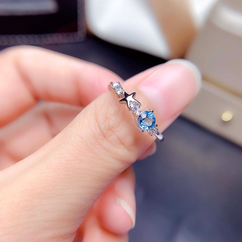 Handmade 925 Sterling Silver Band Ring Stacking Ring Birthstone Ring Star Ring Genuine London Blue Topaz Ring Anniversary Gift for Her