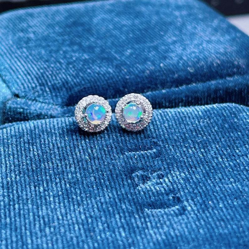 Fire Opal Earring  925 Sterling Silver Stud Post  Raw Opal image 0