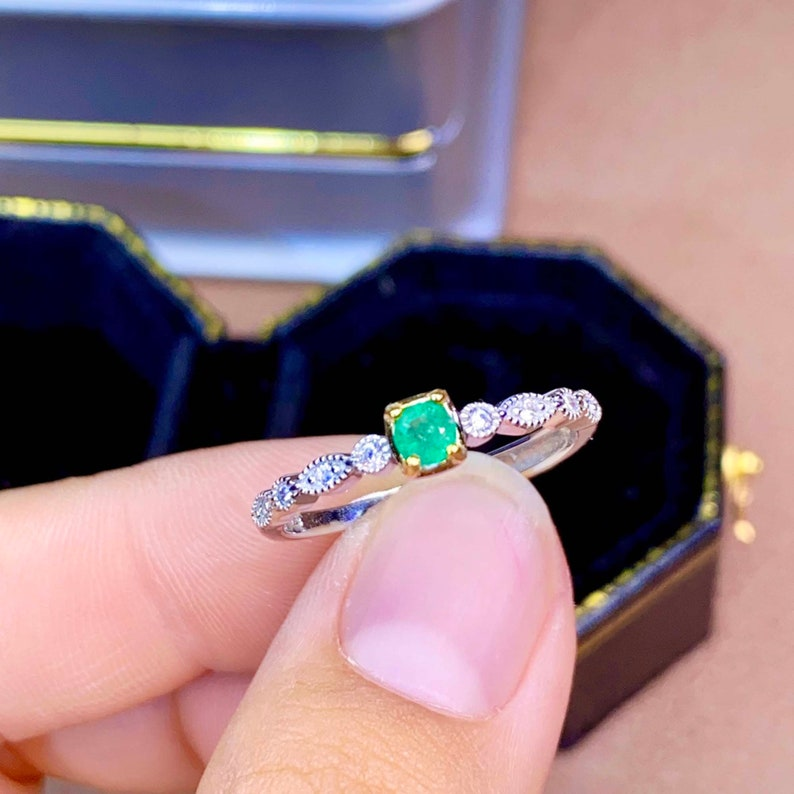 Green Gemstone Emerald Cut Ring Women Ring May Birthstone 925 Sterling Silver Band Ring Natural Colombia Emerald Ring Emerald Jewelry