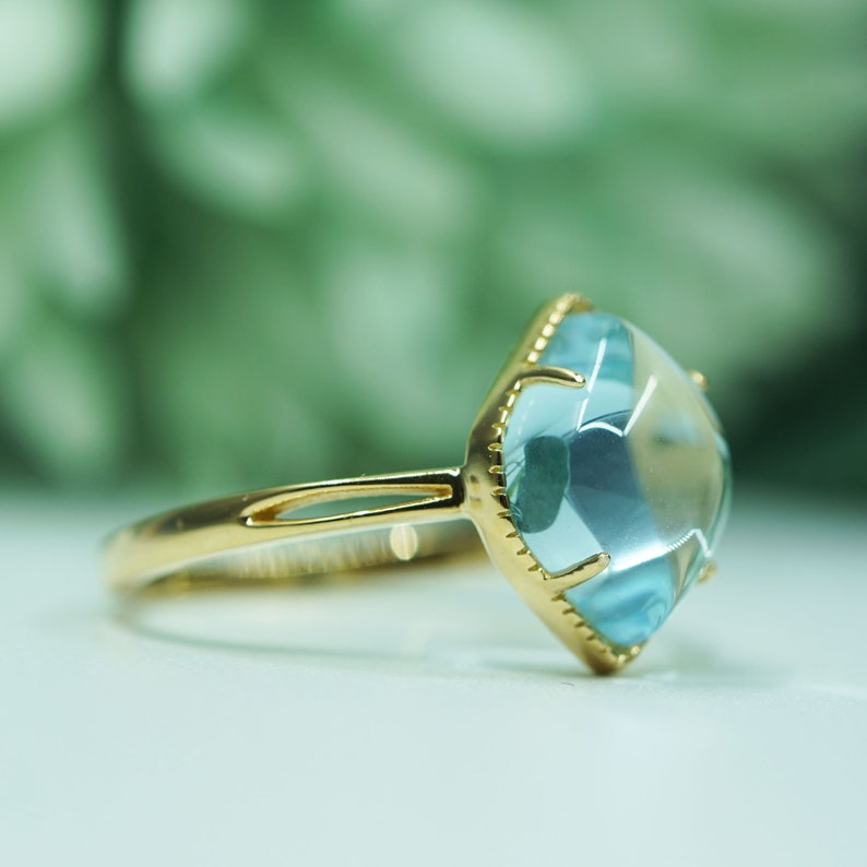 Statement Ring Gift Genuine Topaz Gemstone Ring Solitaire Ring Simple Ring Gold Topaz Ring Jewelry Sky Blue Topaz Ring Birthstone Ring