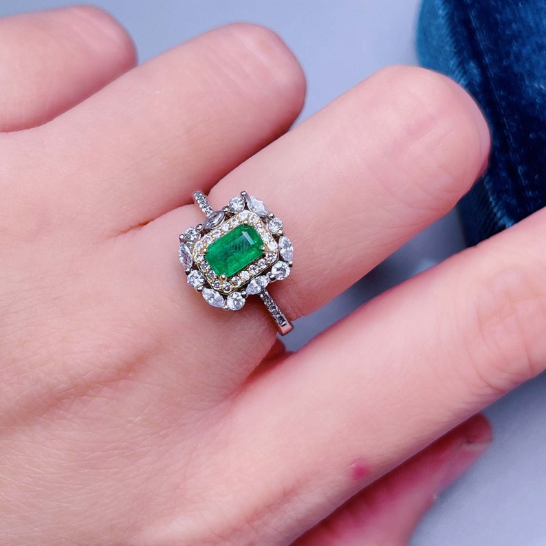 925 Sterling Silver Ring May Birthstone Ring Natural Raw Emerald Ring for Woman Stacking Ring Colombia Emerald Ring Dainty Gift for Her