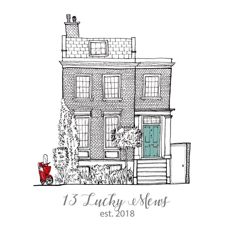 Personalised House illustration Framed/Unframed  Custom image 0