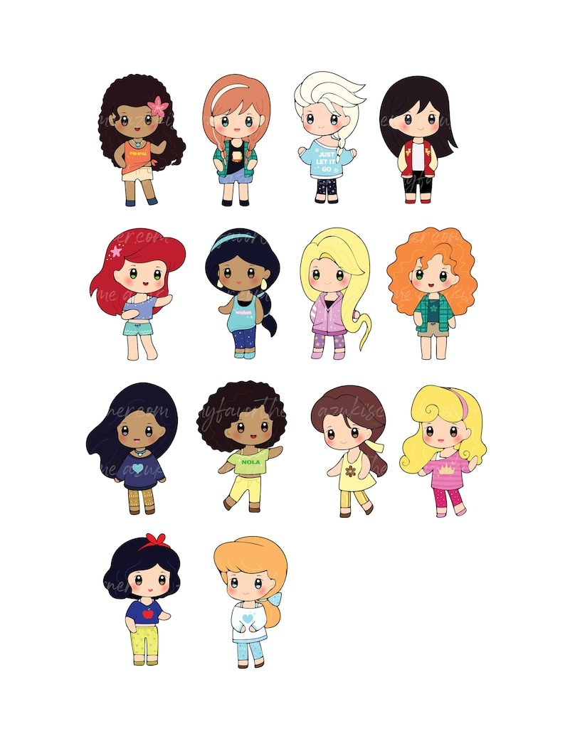 Princess Cupcake Toppers Picks Clipart Chibi in Comfy Wears
