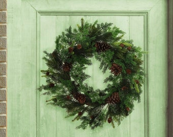 """24"""" Real Touch Mixed Pine Wreath with Cones for Fall & Holidays Front Door Indoor Outdoor Decor"""