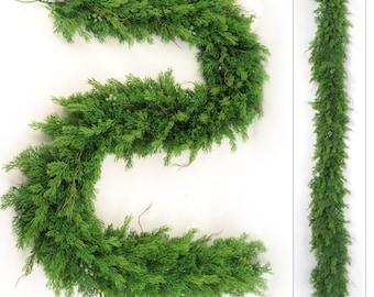 """Realistic 6' Juniper Garland Two Pieces SO FULL of Natural Looking Branches 9"""" Diameter Great for Indoor and Outdoor Use"""