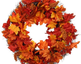 """Fall Wreath for Front Door Decor 20"""" Silk Fall Maple Leaf Grapevine Base  for Indoor Outdoor Use"""