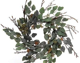 """20"""" Sage Green Eucalyptus Wreath for Front Door Indoor Outdoor Decor"""
