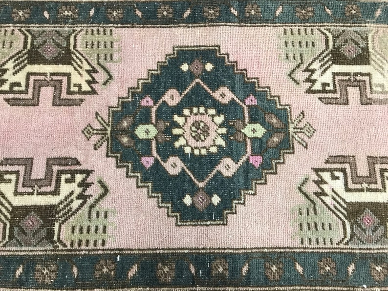 Oushak Rug,Turk\u0131sh Rug,Anatolian Rug,Vintage Rug,Old Rug,Handmade Rug,Natural Rug,Small Rug,Bohemian Rug,Boho Rug,Door Mat 1.10 x 3.4 ft
