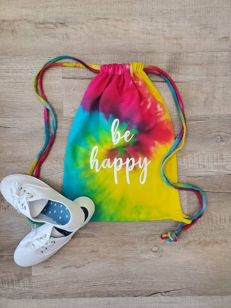 Tie Dye Bag  Be Happy Backpack  Tie Dye Backpack  Tie Dye image 0