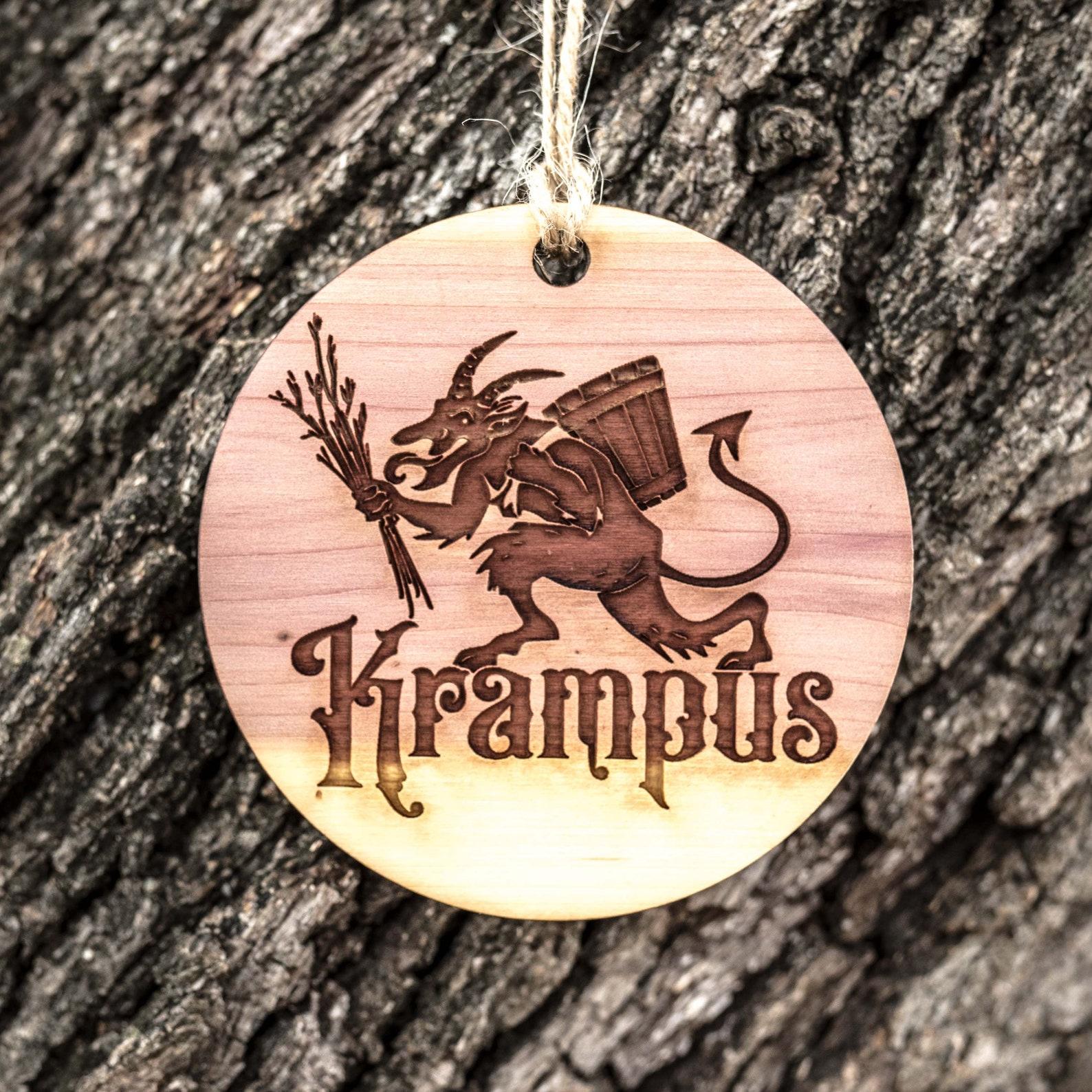 Krampus - Raw Cedar Ornament 3x3in