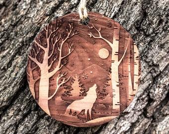 Winter Wolf - Raw Cedar Ornament 3x3in