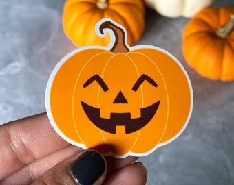 Pumpkin Sticker, Jack-o-Lantern Sticker, Halloween, Fall, Cute Pumpkin, Waterproof Sticker, Laminated Vinyl Sticker, Water Bottle Decal
